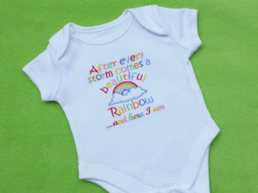 After a storm comes a beautiful rainbow here I am embroidered baby bodysuit vest